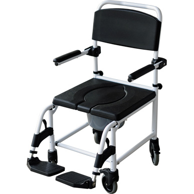Shower chair & commode with small rear wheels