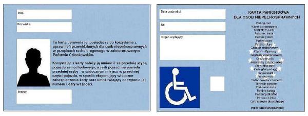 wzór karty parkingowej dla osób niepełnosprawnych